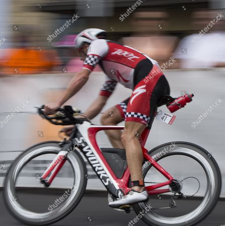 Ben Hoffman of the Usa Races Around the 'Hot Corner' Heading to the Transition Area where the Marathon Leg and Final Leg of the Ironman World Championship in Kailua-kona Hawaii 11 October 2014 United States Kailua-kona