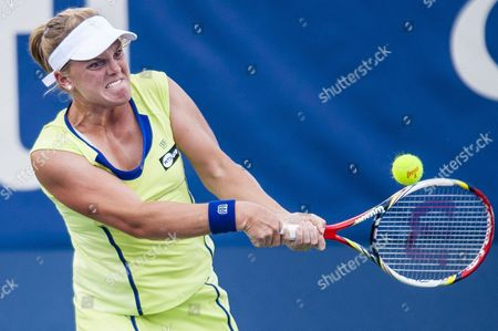 Usa's Melanie Oudin Hits a Return to Germany's Angelique Kerber During Their Women's Singles Match at the Citi Open Atp Tennis Tournament in Washington Dc Usa 01 August 2013 Kerber Won the Match 7-5 6-0 to Advance United States Washington