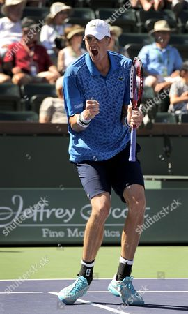 John Isner of the Usa Reacts During His Match Against Nikolay Davydenko of Russia at the Bnp Paribas Open in Indian Wells California Usa 09 March 2014 United States Indian Wells