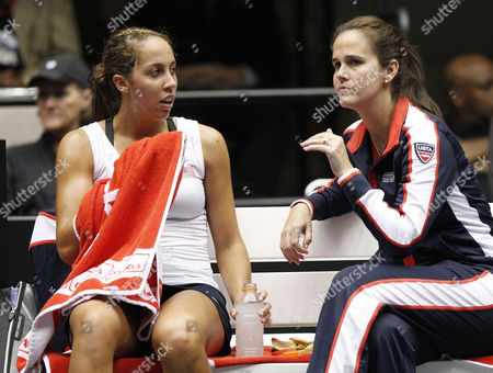 Madison Keys (l) of the Us Talks with Us Team Captain Mary Joe Fernandez (r) During Her Fed Cup Singles Match Against Camila Giorgi of Italy in Their Fed Cup World Group First Round Tie Between the Usa and Italy at the Public Auditorium in Cleveland Ohio Usa 08 February 2014 United States Cleveland