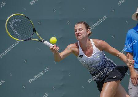 Sesil Karatantcheva of Bulgaria in Action Against Garbine Muguruza of Spain During a Second Round Match at the Miami Open Tennis Tournament on Key Biscayne Miami Florida Usa 27 March 2015 United States Miami