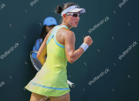 Saisai Zheng of China Reacts During Her Qualifying Round Match Against Michelle Larcher De Brito of Portugal at the Miami Open Tennis Tournament at the Crandon Park Tennis Center on Key Biscayne in Miami Florida Usa 23 March 2015 United States Miami