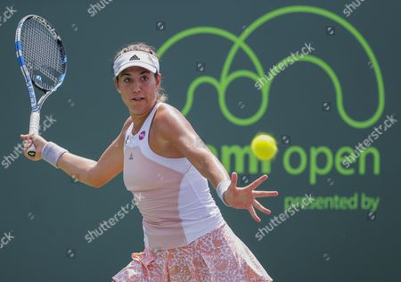 Garbine Muguruza of Spain in Action Against Sesil Karatantcheva of Bulgaria During a Second Round Match at the Miami Open Tennis Tournament on Key Biscayne Miami Florida Usa 27 March 2015 United States Miami