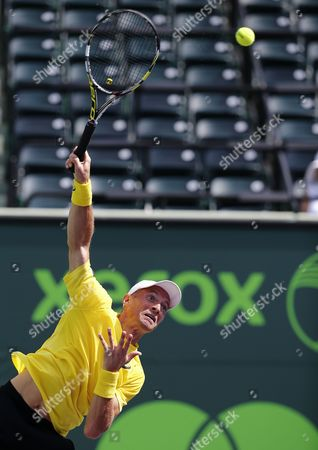 Nikolay Davydenko of Russia Serves to Adrian Mannarino of France During a First Round Match at the Sony Open Tennis Tournament on Key Biscayne in Miami Florida Usa 19 March 2014 United States Miami