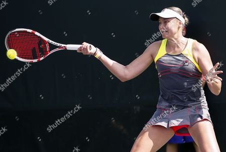 Stock Picture of Nadia Petrova of Russia Returns the Ball to Sabine Lisicki of Germany During a Match at the Sony Open Tennis Tournament on Key Biscayne in Miami Florida Usa 20 March 2014 Lisicki Won the Match United States Miami