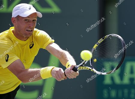 Nikolay Davydenko of Russia Returns a Shot to Adrian Mannarino of France During a First Round Match at the Sony Open Tennis Tournament on Key Biscayne in Miami Florida Usa 19 March 2014 United States Miami