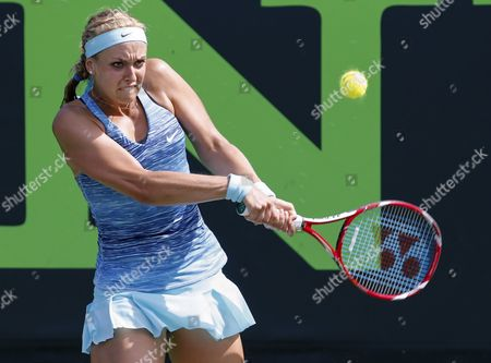Sabine Lisicki of Germany Returns the Ball to Nadia Petrova of Russia During a Match at the Sony Open Tennis Tournament on Key Biscayne in Miami Florida Usa 20 March 2014 United States Miami