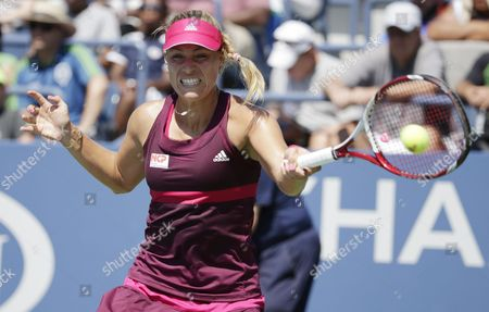 Angelique Kerber of Germany Hits a Return to Ksenia Pervak of Russia During the 2014 Us Open Tennis Championship at the Usta National Tennis Center in Flushing Meadows New York Usa 25 August 2014 the Us Open Runs Through Monday 08 September a 15-day Schedule United States Flushing Meadows
