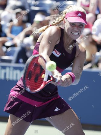 Stock Image of Angelique Kerber of Germany Hits a Return to Ksenia Pervak of Russia During the 2014 Us Open Tennis Championship at the Usta National Tennis Center in Flushing Meadows New York Usa 25 August 2014 the Us Open Runs Through Monday 08 September a 15-day Schedule United States Flushing Meadows