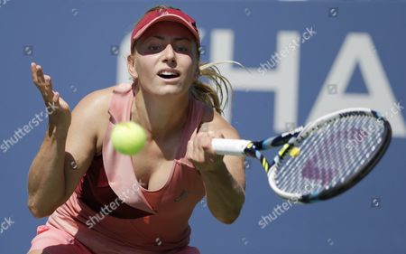 Ksenia Pervak of Russia Hits a Return to Angelique Kerber of Germany During the 2014 Us Open Tennis Championship at the Usta National Tennis Center in Flushing Meadows New York Usa 25 August 2014 the Us Open Runs Through Monday 08 September a 15-day Schedule United States Flushing Meadows