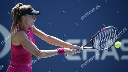Daniela Hantuchova of Slovankia Hits a Return to Romina Oprandi of Switzerland During the 2014 Us Open Tennis Championship at the Usta National Tennis Center in Flushing Meadows New York Usa 25 August 2014 the Us Open Runs Through Monday 08 September a 15-day Schedule United States Flushing Meadows