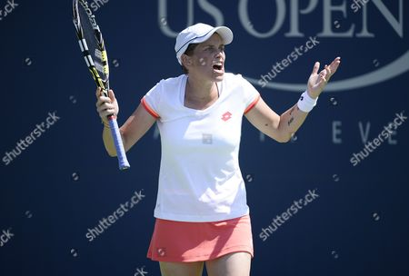 Romina Oprandi of Switzerland Reacts As She Plays Daniela Hantuchova of Slovankia During the 2014 Us Open Tennis Championship at the Usta National Tennis Center in Flushing Meadows New York Usa 25 August 2014 the Us Open Runs Through Monday 08 September a 15-day Schedule United States Flushing Meadows