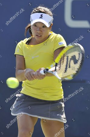 Kurumi Nara of Japan Hits a Return to Aleksandra Wozniak of Canada During the 2014 Us Open Tennis Championship at the Usta National Tennis Center in Flushing Meadows New York Usa 25 August 2014 the Us Open Runs Through Monday 08 September a 15-day Schedule United States Flushing Meadows