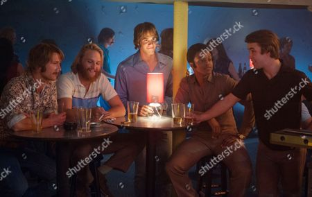 Stock Image of Left to right: Glen Powell, Wyatt Russell, Blake Jenner, James Quinton Johnson and Temple Baker