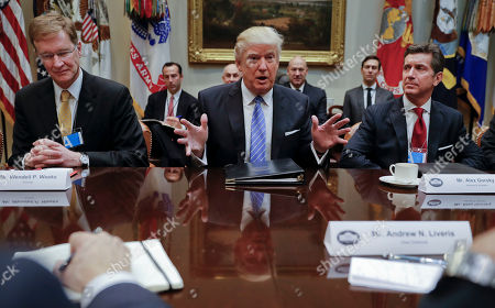 Donald Trump, Alex Gorsky, Wendell P. Weeks President Donald Trump speaks while hosting a breakfast with business leaders in the Roosevelt Room of the White House in Washington, . At left is Wendell P. Weeks, Chief Executive Officer of Corning at right is Alex Gorsky, chairman and chief executive officer of Johnson & Johnson