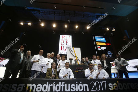 (L to R) Spanish chefs Francisco Lopez Canis, Rafael Garcia Santos, Juan Mari Arzak, Pedro Subijana, Martin Berasategui, Manolo de la Osa, Albert Adria, Joan Roca, Andoni Luis Aduriz, Quique Dacos and Angel Leon pose for a group photo on the first day of the Madrid Fusion Gastronomy Forum in Madrid, Spain, 23 January 2017. The gastronomy event takes place from 23 to 25 January.