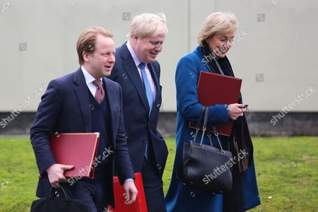 Ben Gummer, Boris Johnson and Andrea Leadsom arriving.