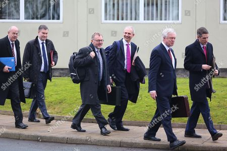 David Davis, David Mundell, Damien Green and colleagues arriving.