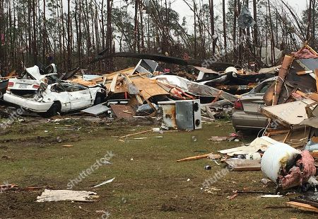 Stock Photo of Mobile homes lay destroyed by a possible tornado in Cook County, Ga. Residents in Georgia, Mississippi and South Carolina are trying to pick up the pieces left behind by a powerful storm system that tore across the Deep South over the weekend, killing 19 people, including 15 in south Georgia