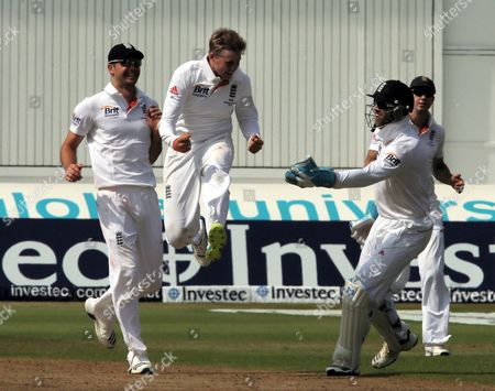 England's Joe Root Celebrates Bowling Australia's Ed Cowan During the First Test of the 2013 Ashes Series Between England and Australia at Trent Bridge Cricket Ground Nottingham Britain 13 July 2013 United Kingdom Nottingham