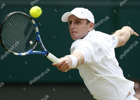 Canada's Jesse Levine Returns to Juan Martin Del Potro of Argentina During Their Second Round Match For the Wimbledon Championships at the All England Lawn Tennis Club in London Britain 27 June 2013 United Kingdom Wimbledon