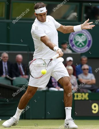 Juan Martin Del Potro of Argentina Returns to Canada's Jesse Levine During Their Second Round Match For the Wimbledon Championships at the All England Lawn Tennis Club in London Britain 27 June 2013 United Kingdom Wimbledon