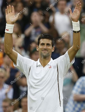 Novak Djokovic of Serbia Celebrates After Winning Against Bobby Reynolds of Usa in Their Second Round Match For the Wimbledon Championships at the All England Lawn Tennis Club in London Britain 27 June 2013 United Kingdom Wimbledon
