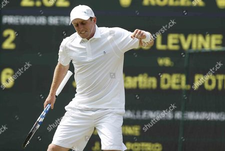 Canada's Jesse Levine Celebrates a Point Against Juan Martin Del Potro of Argentina During Their Second Round Match For the Wimbledon Championships at the All England Lawn Tennis Club in London Britain 27 June 2013 United Kingdom Wimbledon
