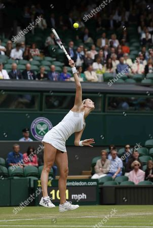 Mathilde Johansson of France Serves to Agnieszka Radwanska of Poland During Their Second Round Match For the Wimbledon Championships at the All England Lawn Tennis Club in London Britain 27 June 2013 United Kingdom Wimbledon