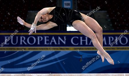 Great Britain's Hannah Whelan Practises on the Balance Beam During a Training Session For the 30th European Women's Artistic Gymnastics Championships in Sofia Bulgaria 13 May 2014 Bulgaria Sofia