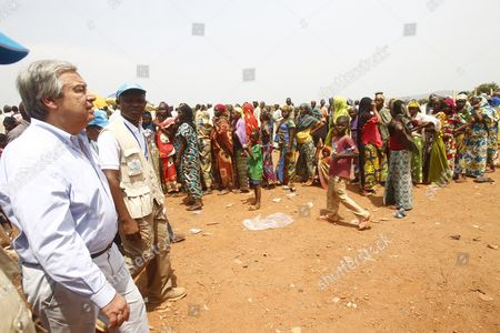 Stock Image of The High Commissioner of the Un Unhcr Antonio Guterres (l) Visits a Muslim Refugee Camp For Internally Displaced Persons at the Airport of Mpoko in Bangui Central African Republic 12 February 2014 Thousands Have Been Killed and One Million Displaced in the Past 13 Months After the Mainly Muslim Armed Opposition Alliance Seleka Rose Up Against the Government and Overthrew President Francois Bozize a Christian in March 2013 Bozize's Muslim Successor Michel Djotodia was Pressured to Cede Power in January But the Election of Catherine Samba-panza a Christian As Interim President Has Been Unable to Stem the Violence Central African Republic Bangui