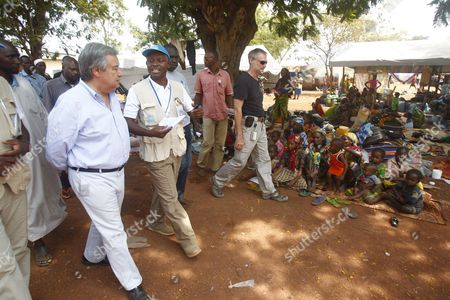 Stock Picture of The High Commissioner of the Un Unhcr Antonio Guterres (l) Visits a Muslim Refugee Camp For Internally Displaced Persons at the Airport of Mpoko in Bangui Central African Republic 12 February 2014 Thousands Have Been Killed and One Million Displaced in the Past 13 Months After the Mainly Muslim Armed Opposition Alliance Seleka Rose Up Against the Government and Overthrew President Francois Bozize a Christian in March 2013 Bozize's Muslim Successor Michel Djotodia was Pressured to Cede Power in January But the Election of Catherine Samba-panza a Christian As Interim President Has Been Unable to Stem the Violence Central African Republic Bangui