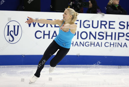 Kiira Korpi of Finland Performs During a Practice Session For the Women's Singles of the Isu World Figure Skating Championships at the Shanghai Oriental Sports Center Stadium in Shanghai China 23 March 2015 the 2015 World Figure Skating Championships in Shanghai Will Start on 25 March Until 29 March 2015 China Shanghai