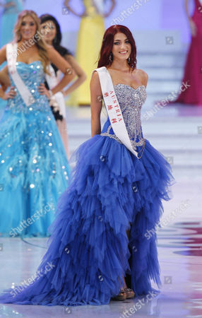 Stock Picture of Miss Austria Amina Dagi is Pictured at the Finals of the Miss World 2012 Pageant in Dongsheng Stadium in Ordos Inner Mongolia China 18 August 2012 Miss China is Crowned Miss World at the 62nd Edition of the Miss World Pageant Held in Ordos China Beijing