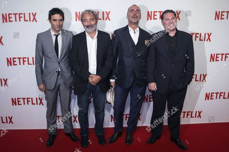 (l-r) French Actor Samuel Benchetrit French Writer Dan Franck French Producer Pascal Breton and French Director Florent Emilio-siri Pose During a Photocall For the Netflix Launching Event at the Faust in Paris France 15 September 2014 the Video on Demand (vod) Platform is Launched in France on 15 September and Has Signed a Broadcast Agreement with the Internet Service Provider Bouygues Telecom and is Now Available in the Country on the Web France Paris