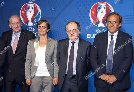 (l-r) Euro 2016 President Jacques Lambert French Minister of Sports Valerie Fourneyron French Football Federation President Noel Le Graet and President of Uefa Michel Platini Pose in Front of the Logo For the Uefa Euro 2016 to Be Held in France After the Official Presentation in Paris France 26 June 2013 France Paris