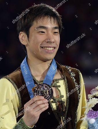 Japan's Bronze Medalist Nobunari Oda Poses with During the Medal Ceremony of the Isu Grand Prix of Figure Skating Final 2013 in Fukuoka Southwestern Japan 06 December 2013 Japan Fukuoka