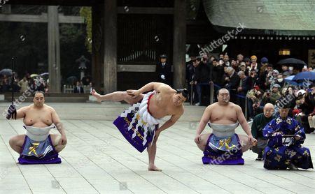 Editorial photo of Japan Sumo Wrestling - Jan 2014