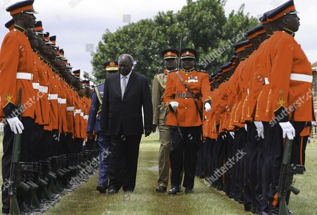 Kenya's Outgoing President Mwai Kibaki Inspects the Guard of Honour During a Farewell Ceremony Held at Moi Air Base in Nairobi Kenya 22 March 2013 Kibaki is to Hand Over the Power Upon the Swearing-in of the New President Kenya Nairobi