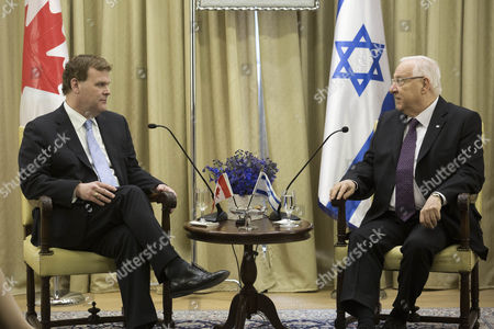 Israeli President Reuven Rivlin (r) Talks with Canadian Foreign Minister John Baird (l) at the President's Residence in Jerusalem Israel 18 January 2015 Israel Jerusalem