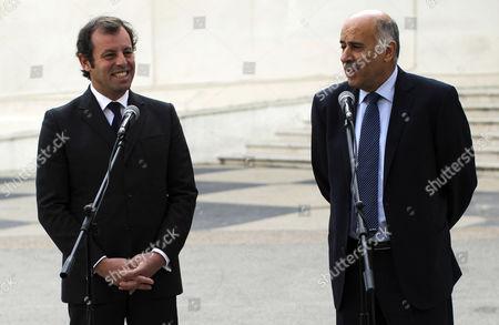 Editorial photo of Mideast Palestinians Barcelona President - Feb 2013