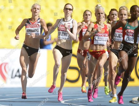 Hannah England (l) of Great Britain in Action During the Women's 1500m Heats at the 14th Iaaf World Championships at Luzhniki Stadium in Moscow Russia 11 August 2013 Russian Federation Moscow