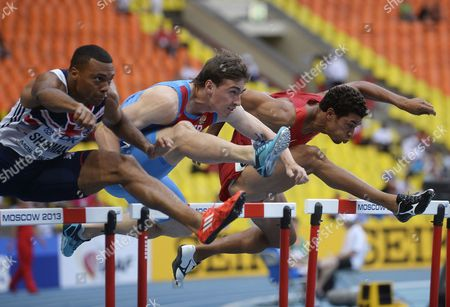 (from Left) British William Sharman Russia's Sergey Shubenkov and Ryan Wilson of the Us Compete in the 110m Semi Final at the 14th Iaaf World Championships at Luzhniki Stadium in Moscow Russia 12 August 2013 Russian Federation Moscow