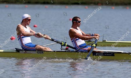 Britain's Oliver Cook and James Foad Compete in the Men's Pair Heat at the 2013 World Rowing Championships in Chungju South Korea 25 August 2013 the Competition Will Last Until 01 September Korea, Republic of Chungju