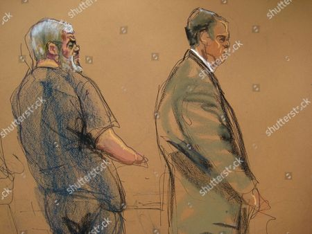 Stock Image of A Courtroom Sketch Shows Defendant Abu Hamza (l) Standing Next to His Defence Lawyer Joshua Dratel (r) As He is Found Guilty of Providing Material Support to Terrorist Organizations at the Federal Court House in Lower Manhattan New York Usa 19 May 2014 the Disabled Egyptian Islamic Preacher was Extradited From Britain on Charges He Conspired to Support Al-qaida in Part by Trying to Create a Training Camp in Oregon 15 Years Ago United States New York