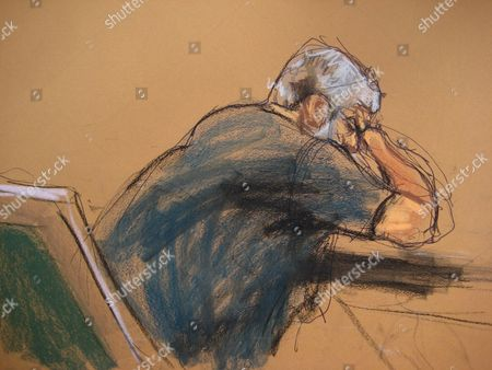 Stock Picture of A Courtroom Sketch Provided on 19 May 2014 Shows Abu Hamza (l) As He is Found Guilty of Providing Material Support to Terrorist Organizations at the Federal Court House in Lower Manhattan New York Usa 19 May 2014 the Disabled Egyptian Islamic Preacher was Extradited From Britain on Charges He Conspired to Support Al-qaida in Part by Trying to Create a Training Camp in Oregon 15 Years Ago United States New York