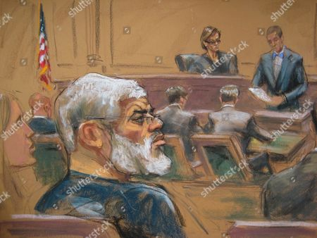 Stock Photo of A Courtroom Sketch Provided on 19 May 2014 Shows Abu Hamza (l) As He is Found Guilty of Providing Material Support to Terrorist Organizations at the Federal Court House in Lower Manhattan New York Usa 19 May 2014 the Disabled Egyptian Islamic Preacher was Extradited From Britain on Charges He Conspired to Support Al-qaida in Part by Trying to Create a Training Camp in Oregon 15 Years Ago Us District Judge Katherine B Forrest (c Background) Presided Over the Trial United States New York