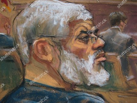 A Courtroom Sketch Provided on 19 May 2014 Shows Abu Hamza (l) As He is Found Guilty of Providing Material Support to Terrorist Organizations at the Federal Court House in Lower Manhattan New York Usa 19 May 2014 the Disabled Egyptian Islamic Preacher was Extradited From Britain on Charges He Conspired to Support Al-qaida in Part by Trying to Create a Training Camp in Oregon 15 Years Ago United States New York