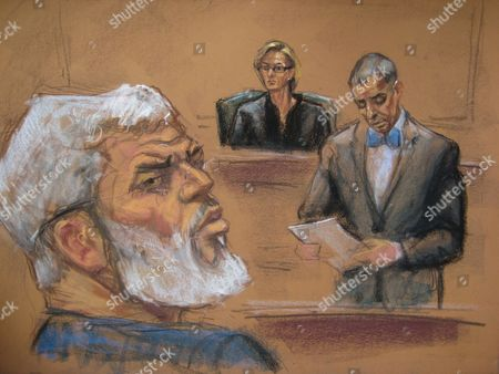 A Courtroom Sketch Provided on 19 May 2014 Shows Abu Hamza (l) As He is Found Guilty of Providing Material Support to Terrorist Organizations at the Federal Court House in Lower Manhattan New York Usa 19 May 2014 the Disabled Egyptian Islamic Preacher was Extradited From Britain on Charges He Conspired to Support Al-qaida in Part by Trying to Create a Training Camp in Oregon 15 Years Ago Us District Judge Katherine B Forrest (c) Presided Over the Trial United States New York