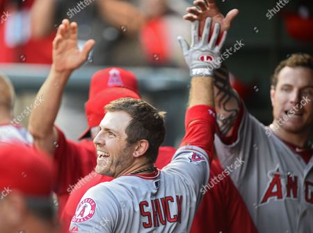 Stock Image of Los Angeles Angels Player J B Shuck Celebrates with Teammates After Hitting a Solo Home Run in the Fifth Inning Against the Texas Rangers at Rangers Ballpark in Arlington Texas Usa 29 July 2013 United States Arlington